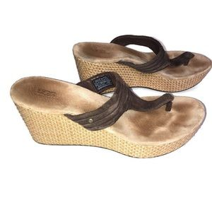 UGG Wedge Brown Leather Sandal Size 8.5